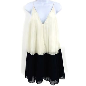 ASOS Cami Pleated Black and Ivory Dress Size 6